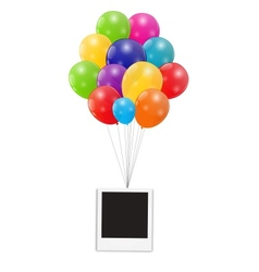 Color glossy balloons with instant photo vector