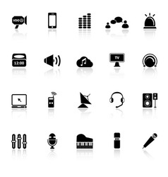 Sound icons with reflect on white background vector