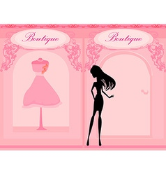 Elegant shopping woman silhouette vector