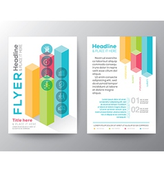 Isometric shape design brochure flyer layout vector