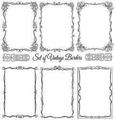 Set of vintage borders set 9 vector