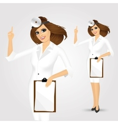 Medicine doctor woman with clipboard vector