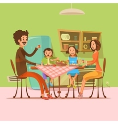 Family having meal vector