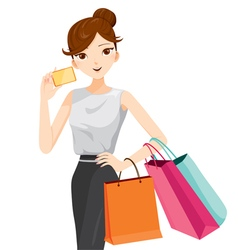 Woman holding card and shopping bags vector