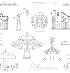 Amusement park icons pattern vector