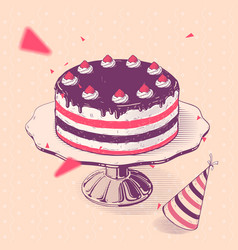 birthday cake with strawberries vector image vector image