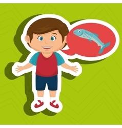 boy cartoon food fish fresh vector image