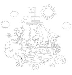 Children playing on a ship vector
