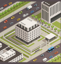 City government buildings isometric composition vector