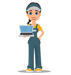 courier woman holding laptop professional fast vector image