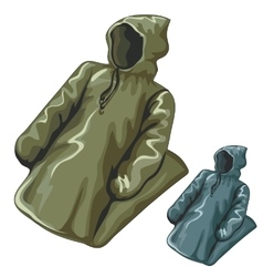 Dense rain jackets with hoods vector image