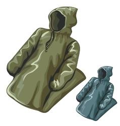 Dense rain jackets with hoods vector