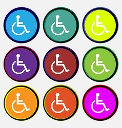 Disabled icon sign nine multi colored round vector