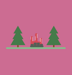 Flat icon bonfire in forest vector