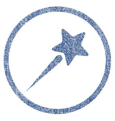 Flying star rounded fabric textured icon vector