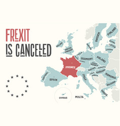 Frexit is cancelled poster map of the european vector
