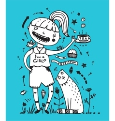 Girl cat and bird friends drinking tea with cake vector