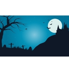 Halloween tomb with full moon vector