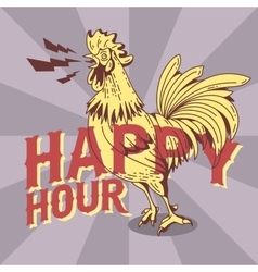 Happy hour new vintage poster design with crowing vector