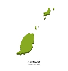 Isometric map of Grenada detailed vector image