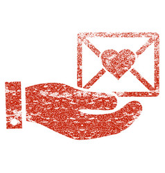 Love mail offer hand grunge texture icon vector