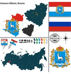 Map of Oblast of Samara vector image vector image