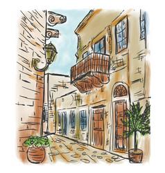 mediterranean town painting vector image