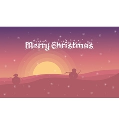 Merry christmas and snowman landscape vector