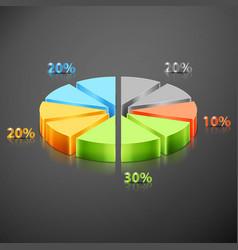 metallic infographics pie graph vector image