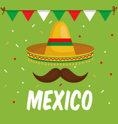 Mexican culture traditional hat vector