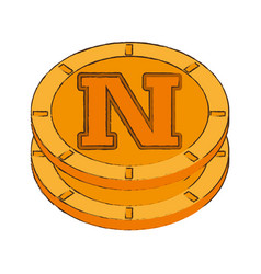 novacoin cryptocurrency stack icon vector image vector image