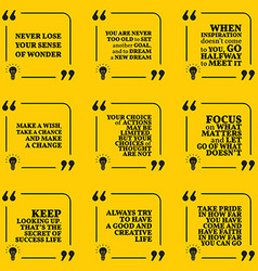 Set of motivational quotes about dreams goals vector image vector image