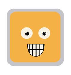Square colorful shape emoticon surprised vector