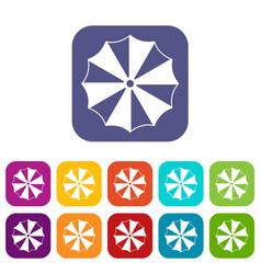 striped umbrella icons set vector image vector image