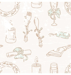 Vintage hand drawn wedding table decoration vector