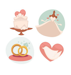 Wedding with marriage symbols vector