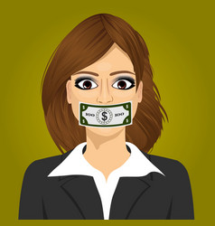 Woman wuth hundred dollar bill taped to mouth vector