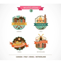 World Cities - Amsterdam Venice Jerusalem vector image