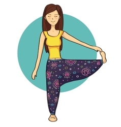 yoga cartoon girl in asana vector image