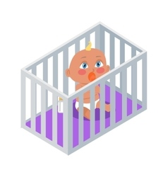 Baby sitting in the bassinet with dummy vector