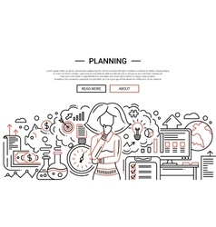 Planning - line design website banner temlate vector