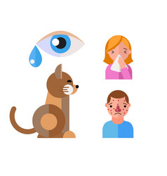 allergy symbols animal disease healthcare cat vector image