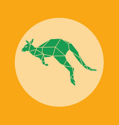 Green kangaroo icon in orange background vector