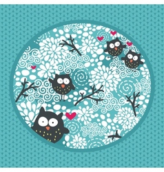 Winter pattern with owls and snow vector