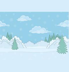 Landscape winter forest seamless vector