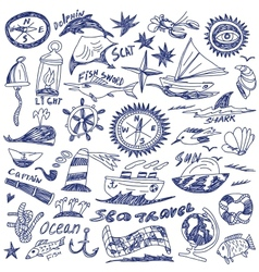Sea travel - doodles vector