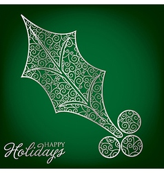 Elegant filigree christmas card in format vector