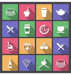 Drink and food icons in flat design vector