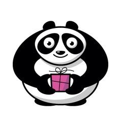 Cartoon panda with gift vector image