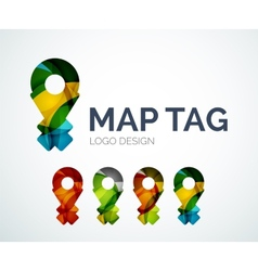 Map tag logo design made of color pieces vector